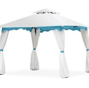WHITE AND BLUE 10'×10' CANOPY SHELTER GAZEBO